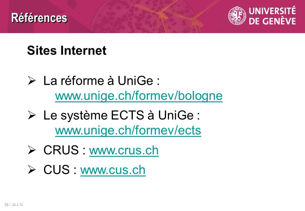 Références Sites Internet. La réforme à UniGe : www.unige.ch/formev/bologne. Le système ECTS à UniGe : www.unige.ch/formev/ects.