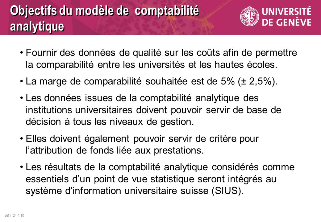 Objectifs du modèle de comptabilité analytique