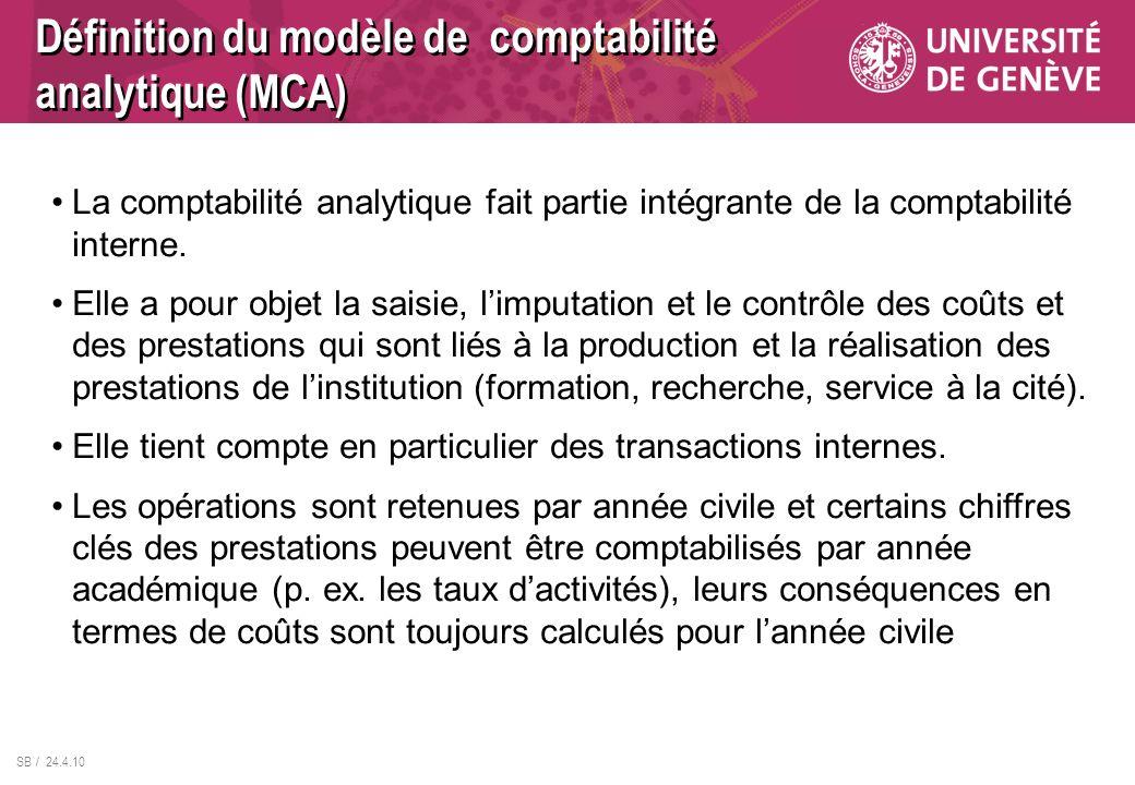 Définition du modèle de comptabilité analytique (MCA)