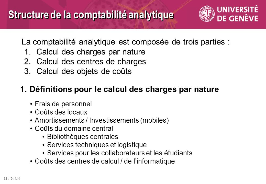 Structure de la comptabilité analytique