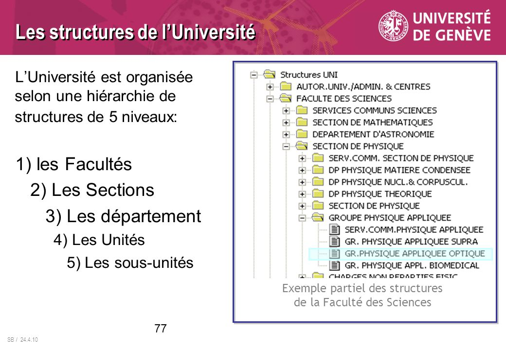 Les structures de l'Université