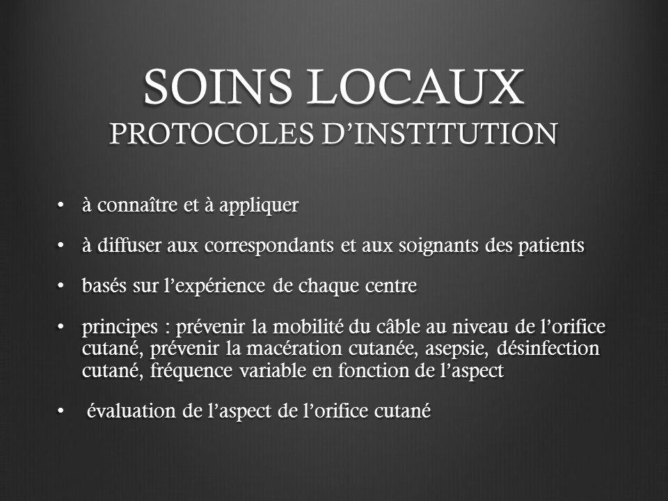 SOINS LOCAUX PROTOCOLES D'INSTITUTION
