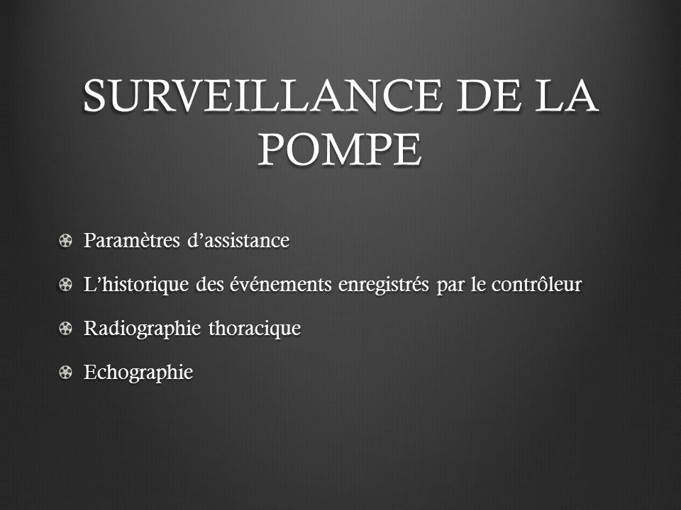 SURVEILLANCE DE LA POMPE