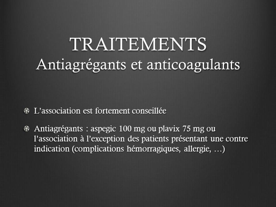 TRAITEMENTS Antiagrégants et anticoagulants
