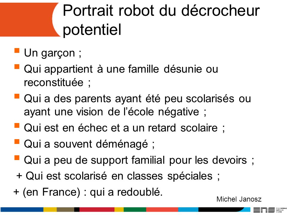 Portrait robot du décrocheur potentiel