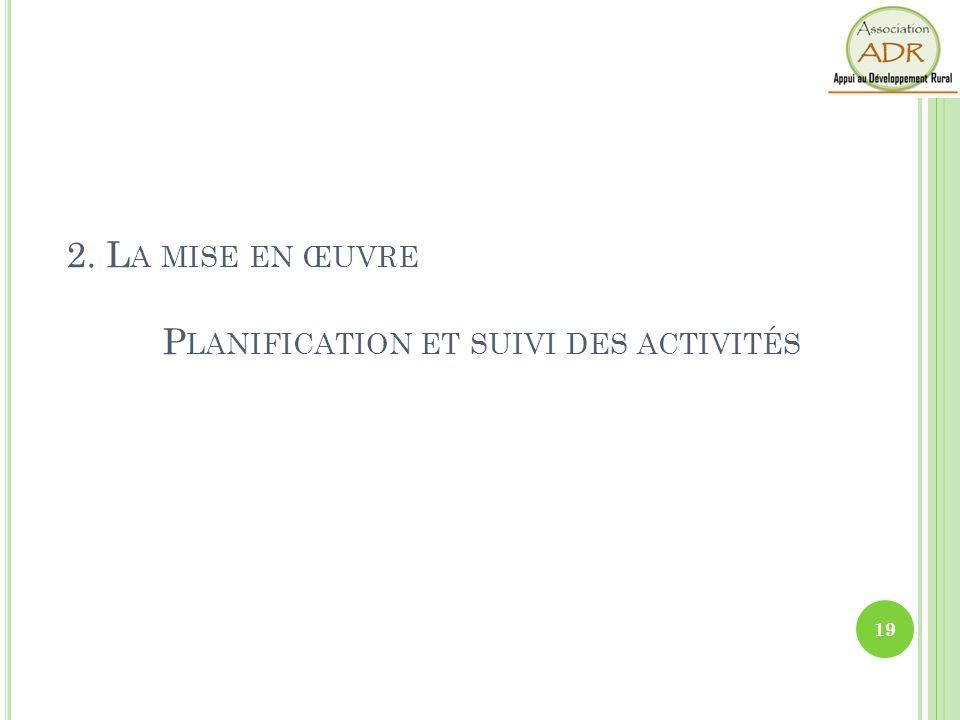 2. La mise en œuvre Planification et suivi des activités