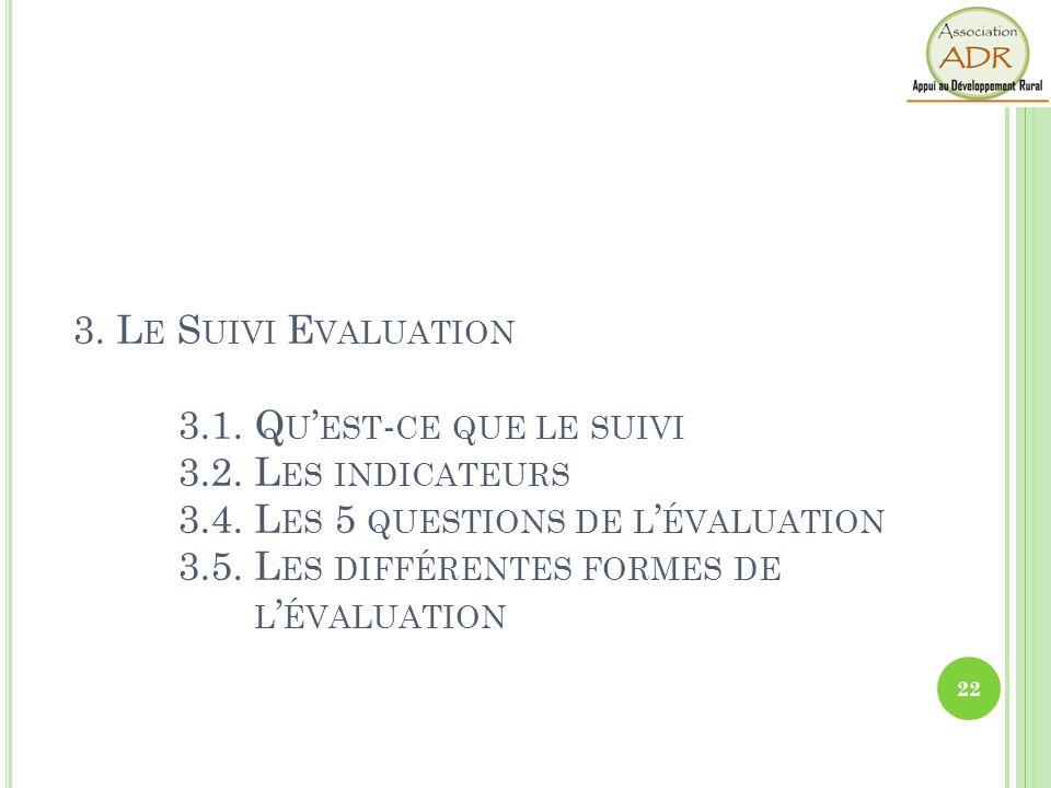 3. Le Suivi Evaluation. 3. 1. Qu'est-ce que le suivi. 3. 2