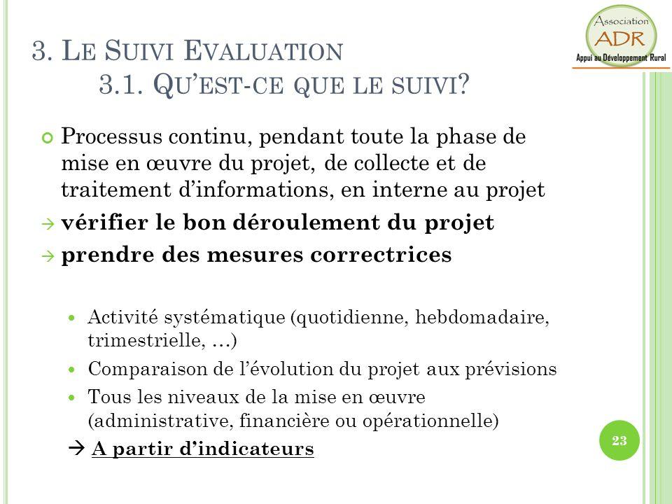 3. Le Suivi Evaluation 3.1. Qu'est-ce que le suivi