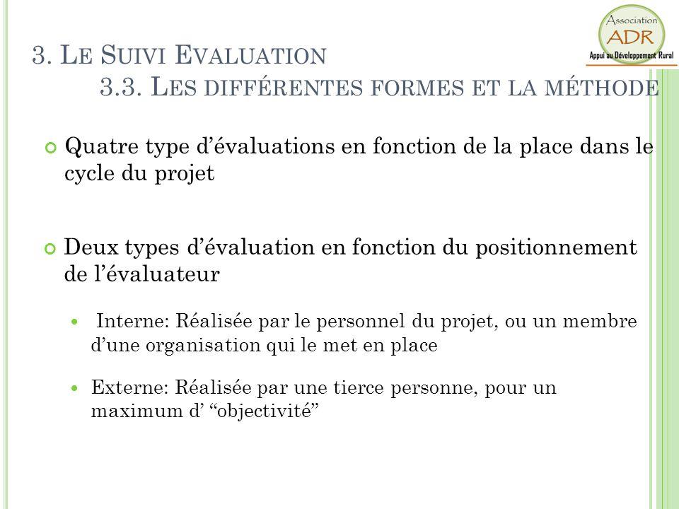 3. Le Suivi Evaluation 3.3. Les différentes formes et la méthode