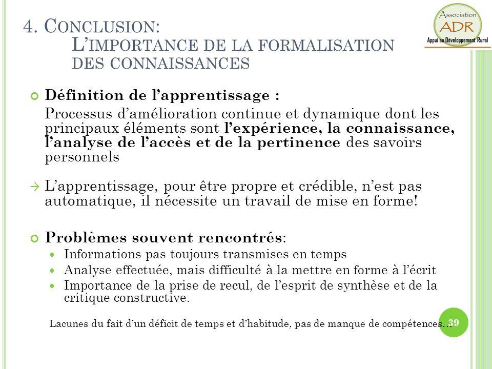 4. Conclusion: L'importance de la formalisation des connaissances