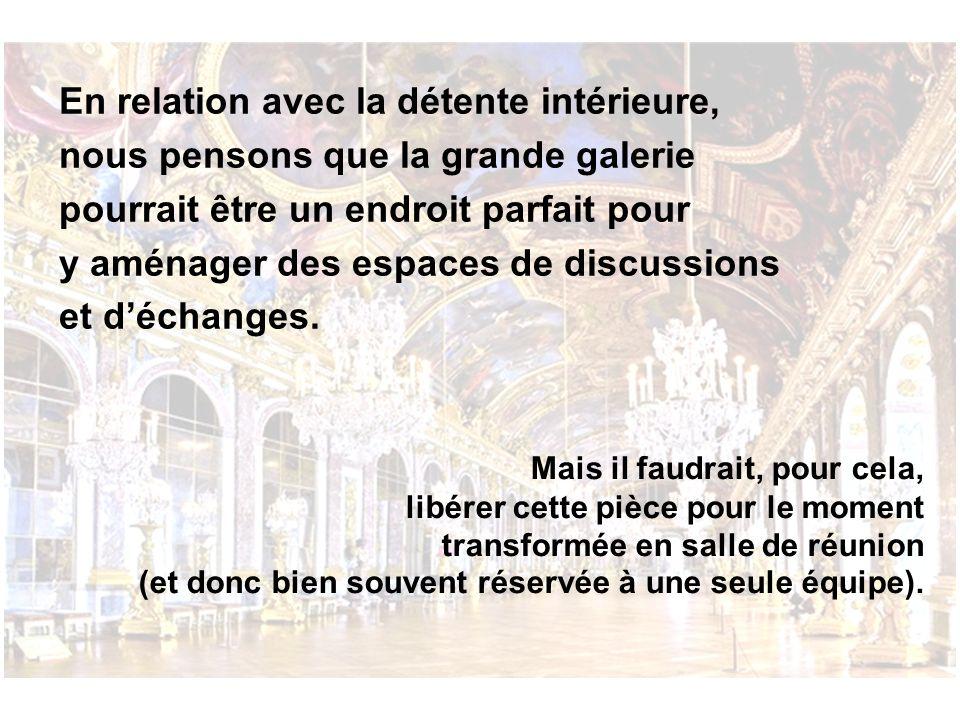 En relation avec la détente intérieure, nous pensons que la grande galerie pourrait être un endroit parfait pour y aménager des espaces de discussions et d'échanges.