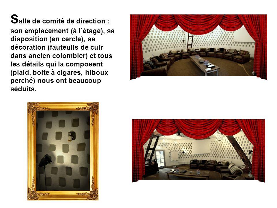 Salle de comité de direction : son emplacement (à l'étage), sa disposition (en cercle), sa décoration (fauteuils de cuir dans ancien colombier) et tous les détails qui la composent (plaid, boite à cigares, hiboux perché) nous ont beaucoup séduits.