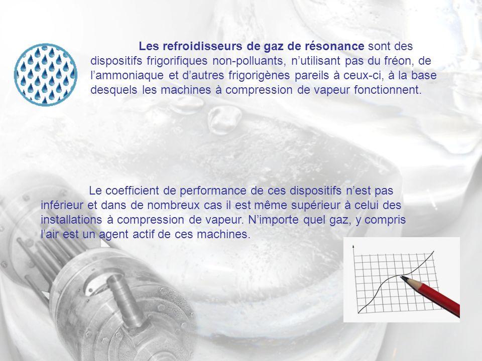 Les refroidisseurs de gaz de résonance sont des dispositifs frigorifiques non-polluants, n'utilisant pas du fréon, de l'ammoniaque et d'autres frigorigènes pareils à ceux-ci, à la base desquels les machines à compression de vapeur fonctionnent.