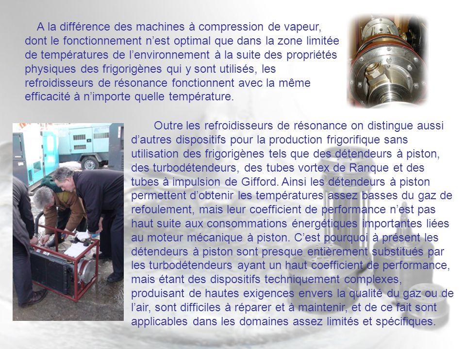 A la différence des machines à compression de vapeur, dont le fonctionnement n'est optimal que dans la zone limitée de températures de l'environnement à la suite des propriétés physiques des frigorigènes qui y sont utilisés, les refroidisseurs de résonance fonctionnent avec la même efficacité à n'importe quelle température.
