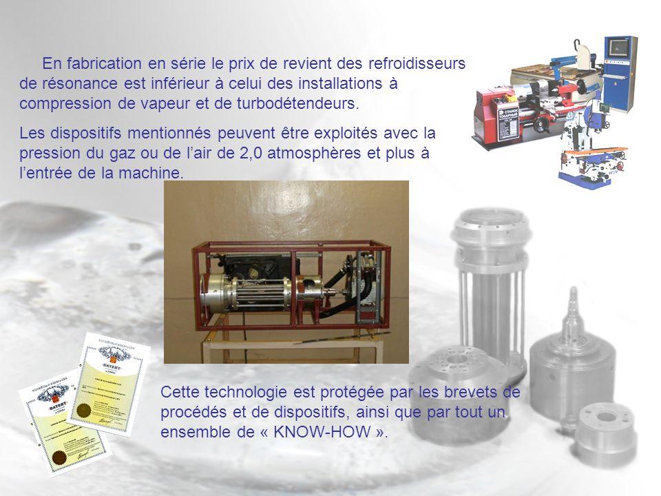 En fabrication en série le prix de revient des refroidisseurs de résonance est inférieur à celui des installations à compression de vapeur et de turbodétendeurs.