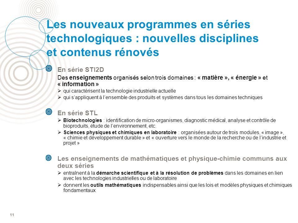 Les nouveaux programmes en séries technologiques : nouvelles disciplines et contenus rénovés