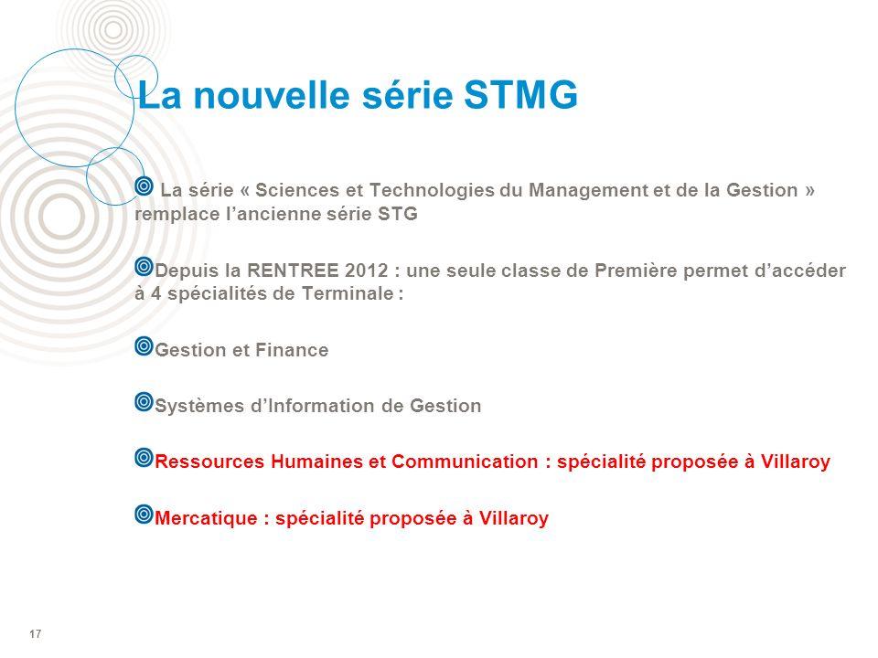 La nouvelle série STMG La série « Sciences et Technologies du Management et de la Gestion » remplace l'ancienne série STG.