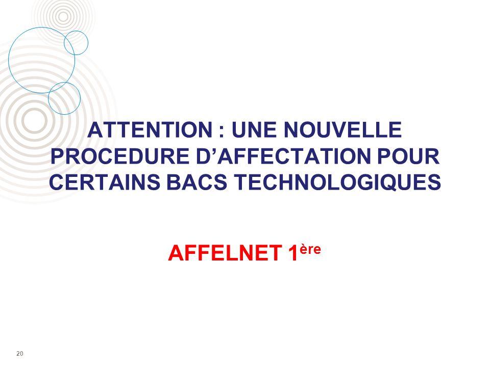 ATTENTION : UNE NOUVELLE PROCEDURE D'AFFECTATION POUR CERTAINS BACS TECHNOLOGIQUES