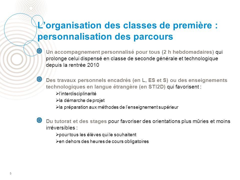 L'organisation des classes de première : personnalisation des parcours