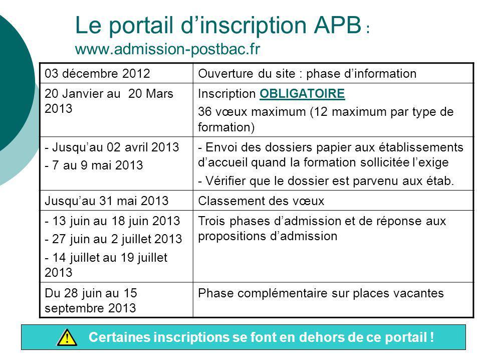 Le portail d'inscription APB : www.admission-postbac.fr