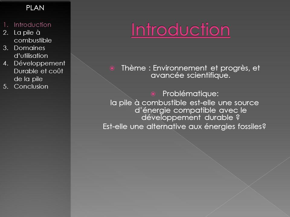 PLAN Introduction. La pile à combustible. Domaines d'utilisation. Développement Durable et coût de la pile.