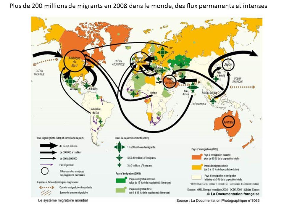 Plus de 200 millions de migrants en 2008 dans le monde, des flux permanents et intenses