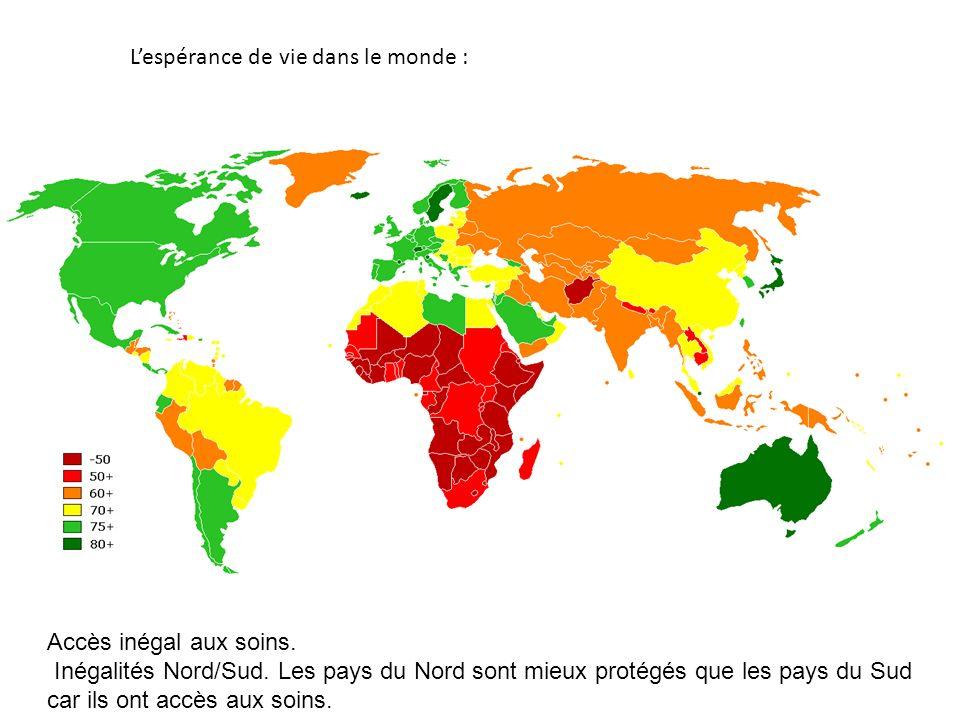 L'espérance de vie dans le monde :