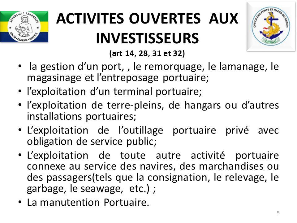 ACTIVITES OUVERTES AUX INVESTISSEURS (art 14, 28, 31 et 32)