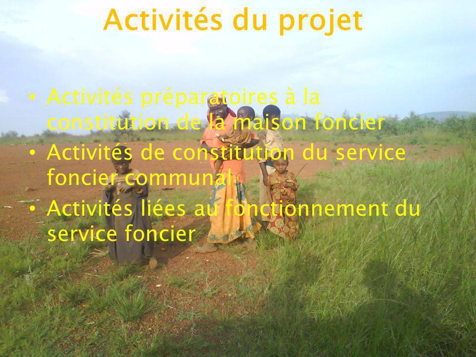 Activités du projet Activités préparatoires à la constitution de la maison foncier. Activités de constitution du service foncier communal.