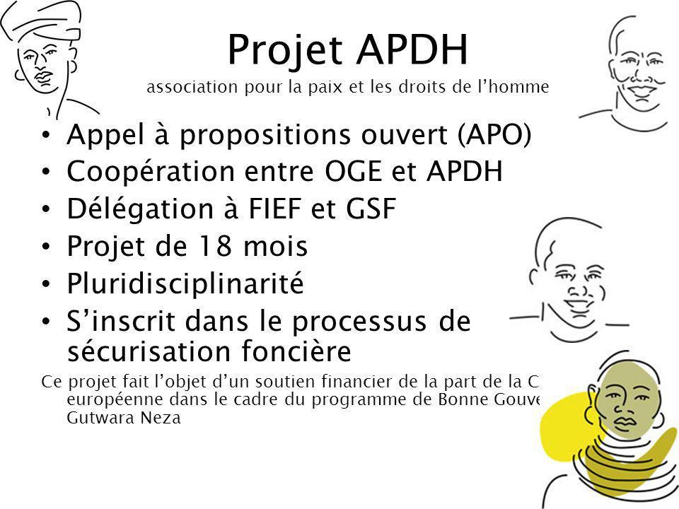 Projet APDH association pour la paix et les droits de l'homme