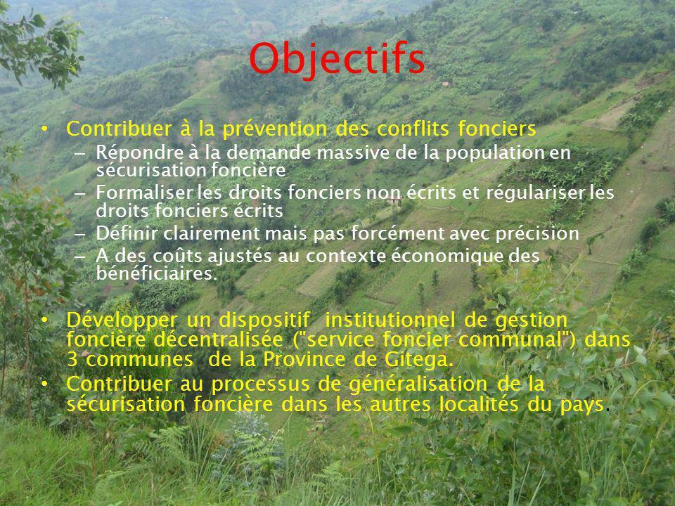 Objectifs Contribuer à la prévention des conflits fonciers