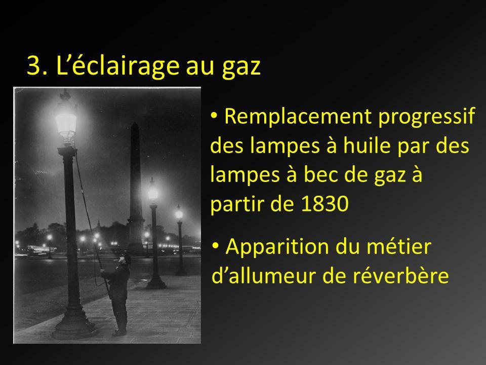 3. L'éclairage au gaz Remplacement progressif des lampes à huile par des lampes à bec de gaz à partir de 1830.