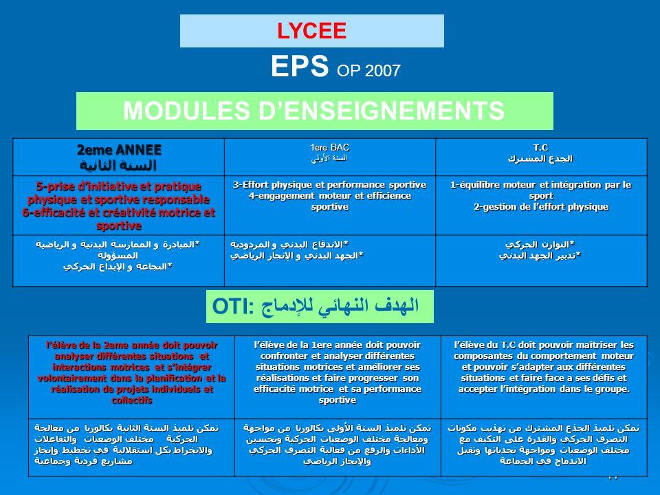 EPS OP 2007 MODULES D'ENSEIGNEMENTS LYCEE OTI: الهدف النهائي للإدماج