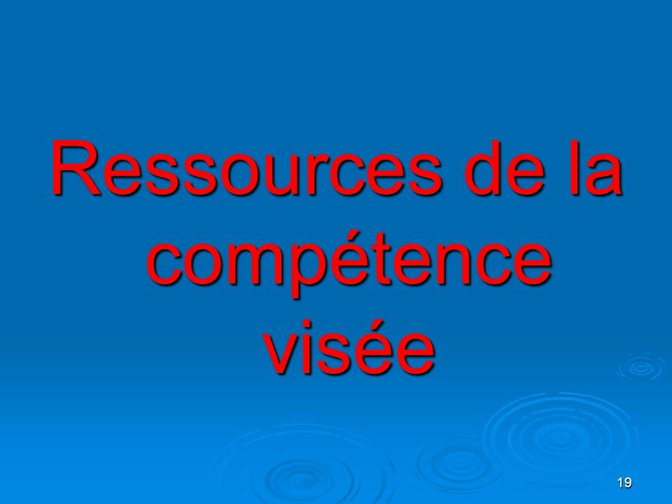 Ressources de la compétence visée