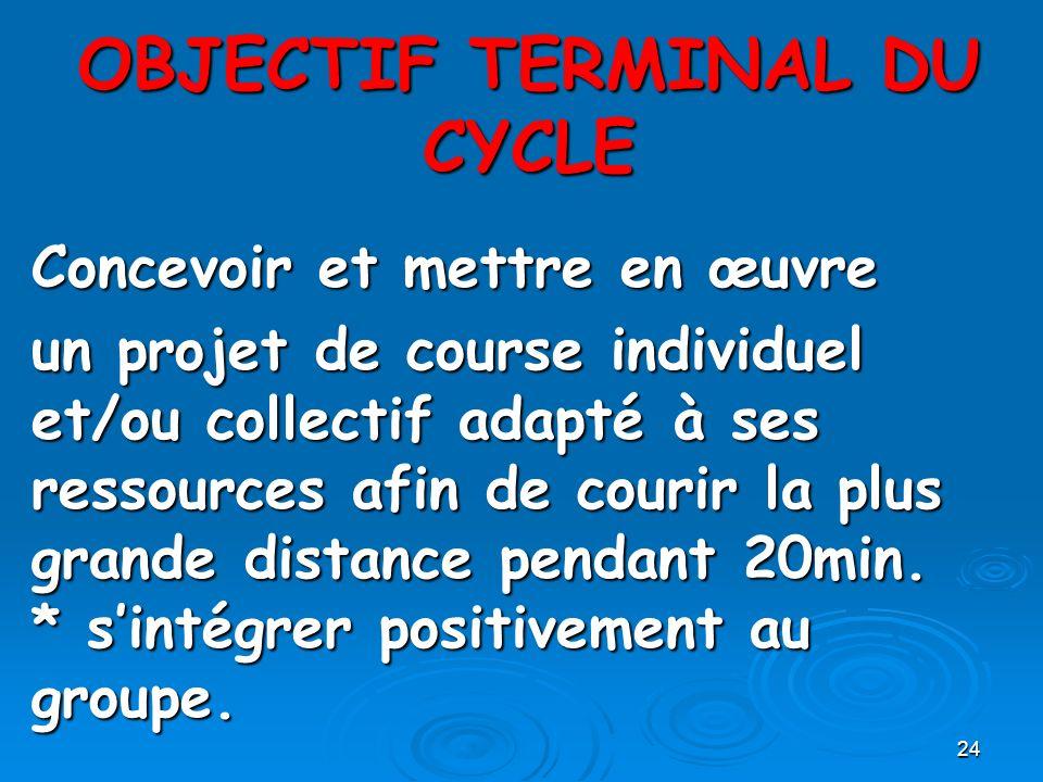 OBJECTIF TERMINAL DU CYCLE