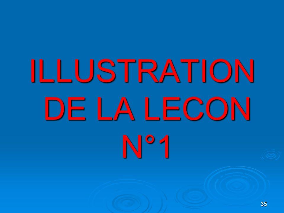 ILLUSTRATION DE LA LECON N°1