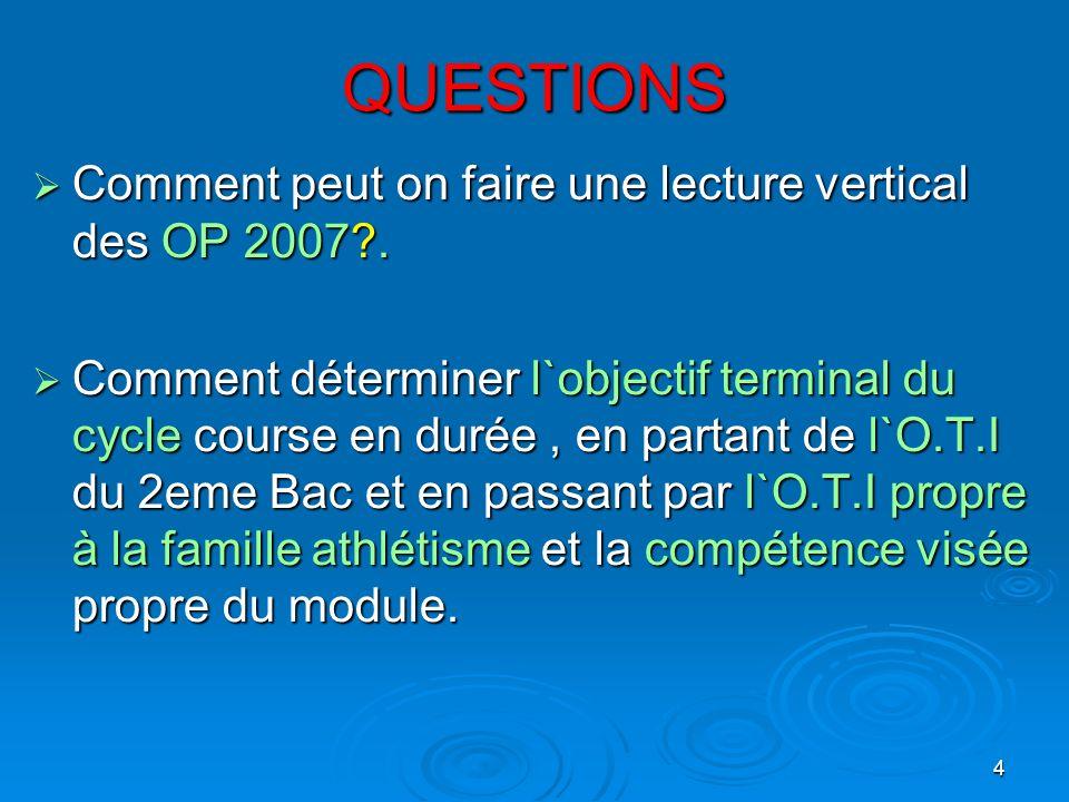 QUESTIONS Comment peut on faire une lecture vertical des OP 2007 .