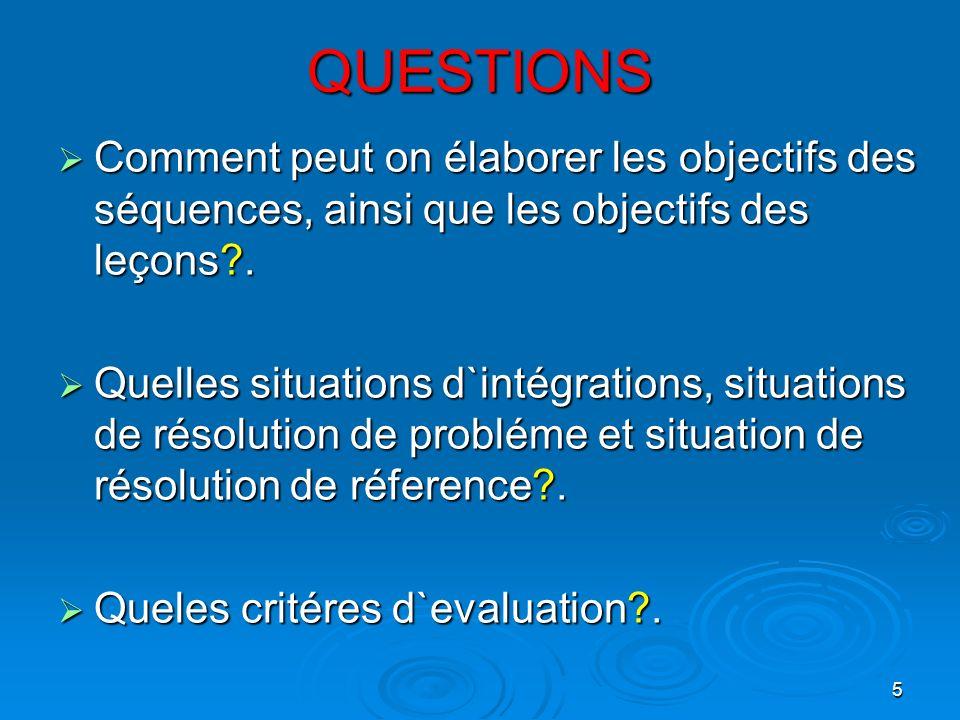 QUESTIONS Comment peut on élaborer les objectifs des séquences, ainsi que les objectifs des leçons .