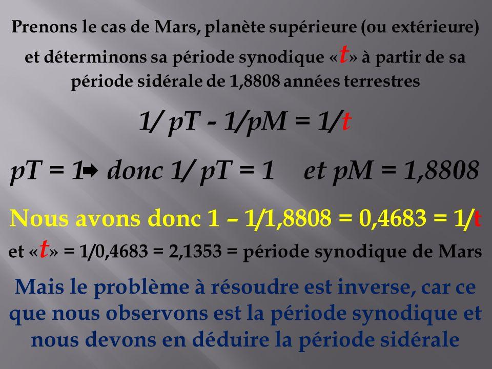 et «t» = 1/0,4683 = 2,1353 = période synodique de Mars