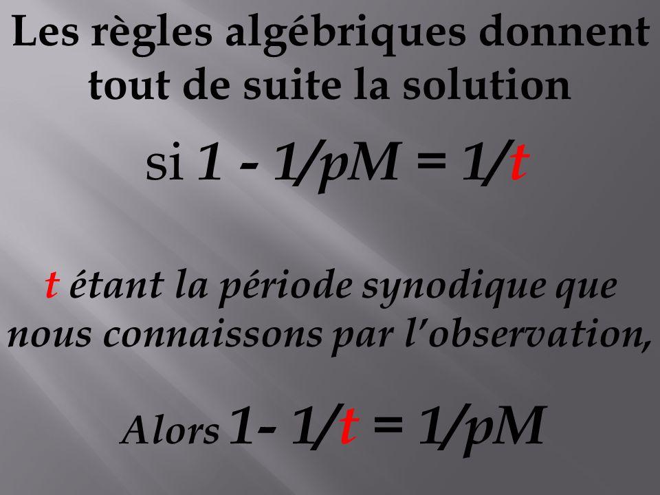 Les règles algébriques donnent tout de suite la solution
