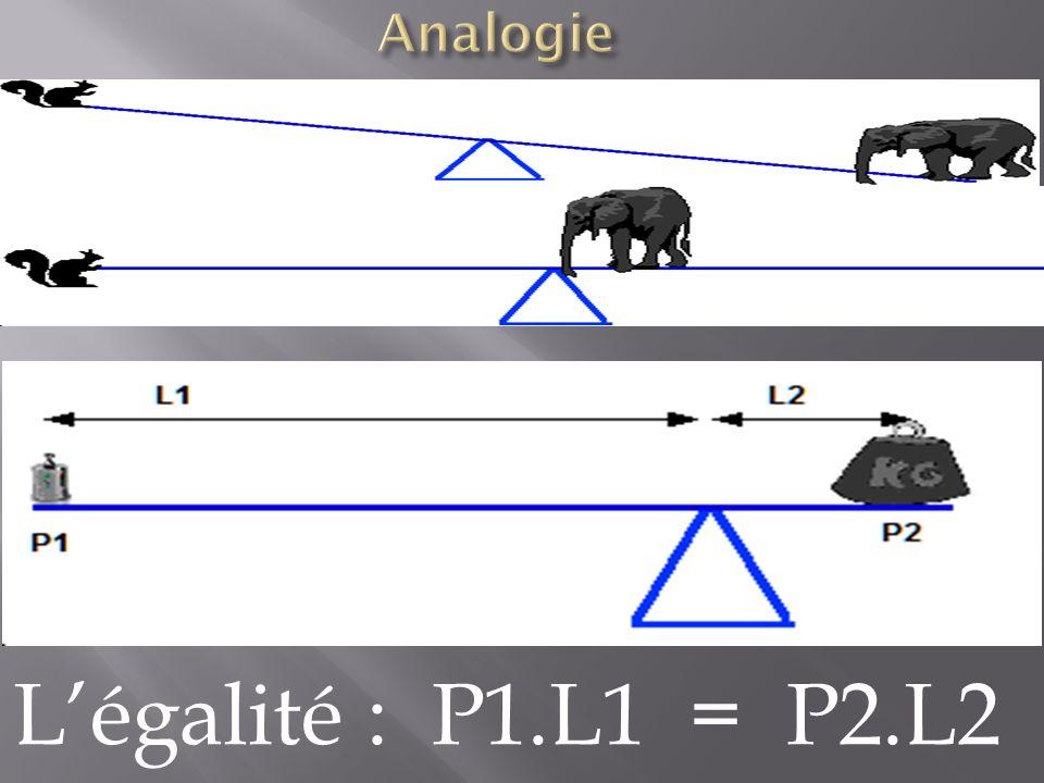 Analogie L'égalité : P1.L1 = P2.L2