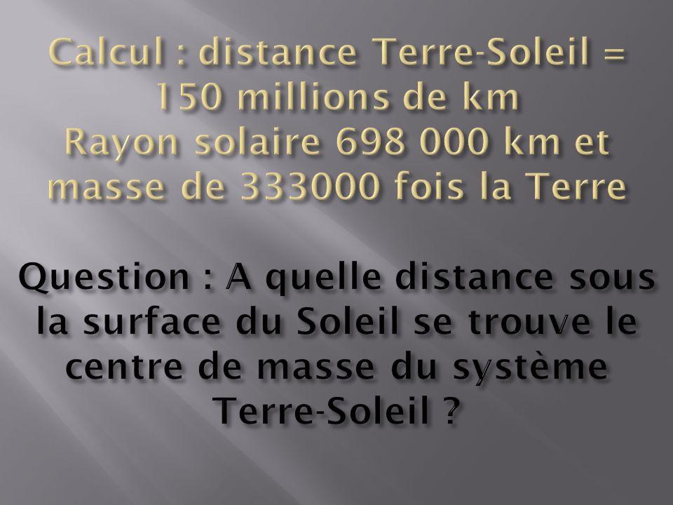 Calcul : distance Terre-Soleil = 150 millions de km Rayon solaire 698 000 km et masse de 333000 fois la Terre Question : A quelle distance sous la surface du Soleil se trouve le centre de masse du système Terre-Soleil