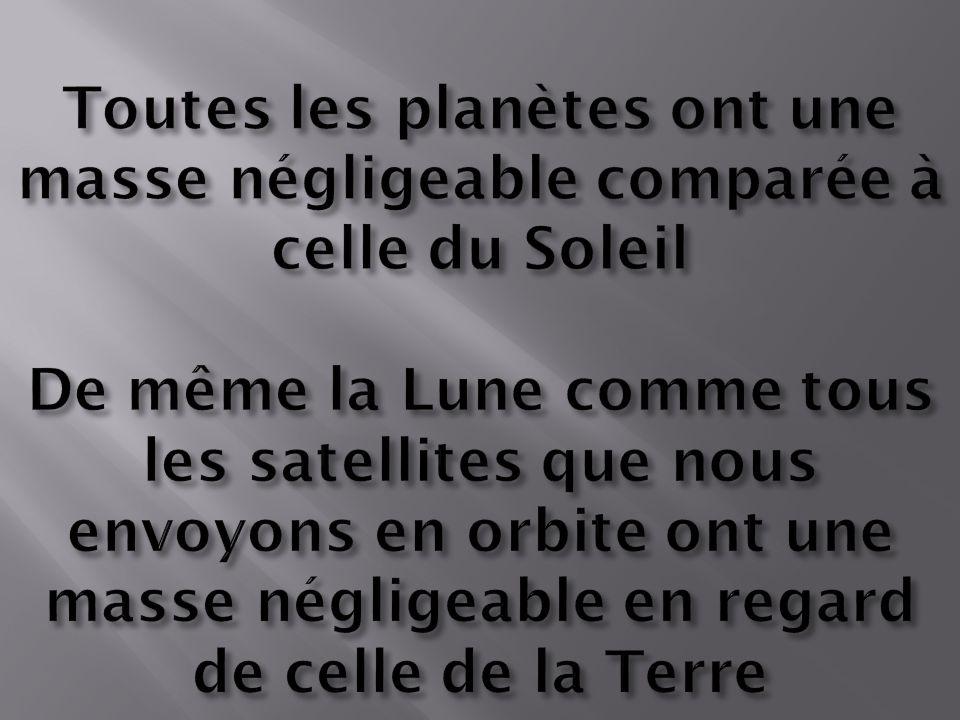 Toutes les planètes ont une masse négligeable comparée à celle du Soleil De même la Lune comme tous les satellites que nous envoyons en orbite ont une masse négligeable en regard de celle de la Terre