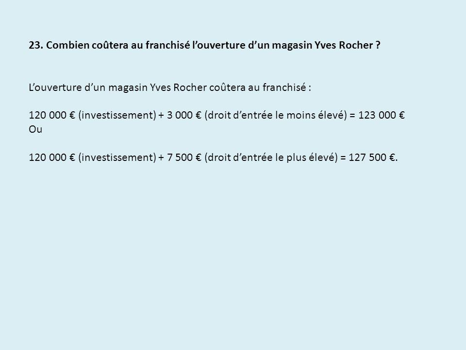 23. Combien coûtera au franchisé l'ouverture d'un magasin Yves Rocher
