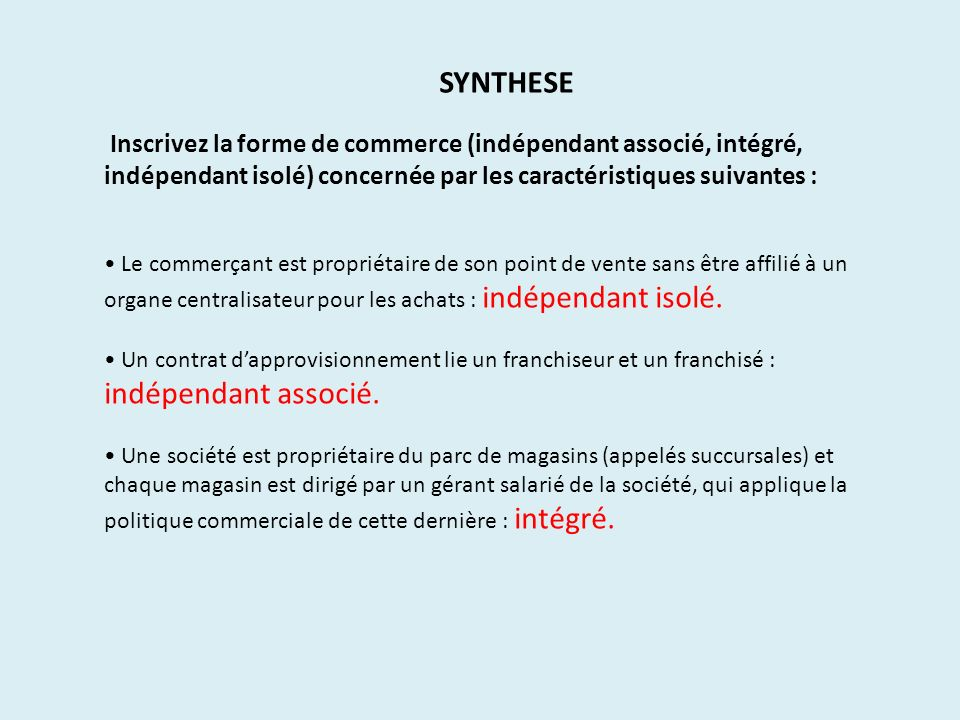 SYNTHESE Inscrivez la forme de commerce (indépendant associé, intégré, indépendant isolé) concernée par les caractéristiques suivantes :