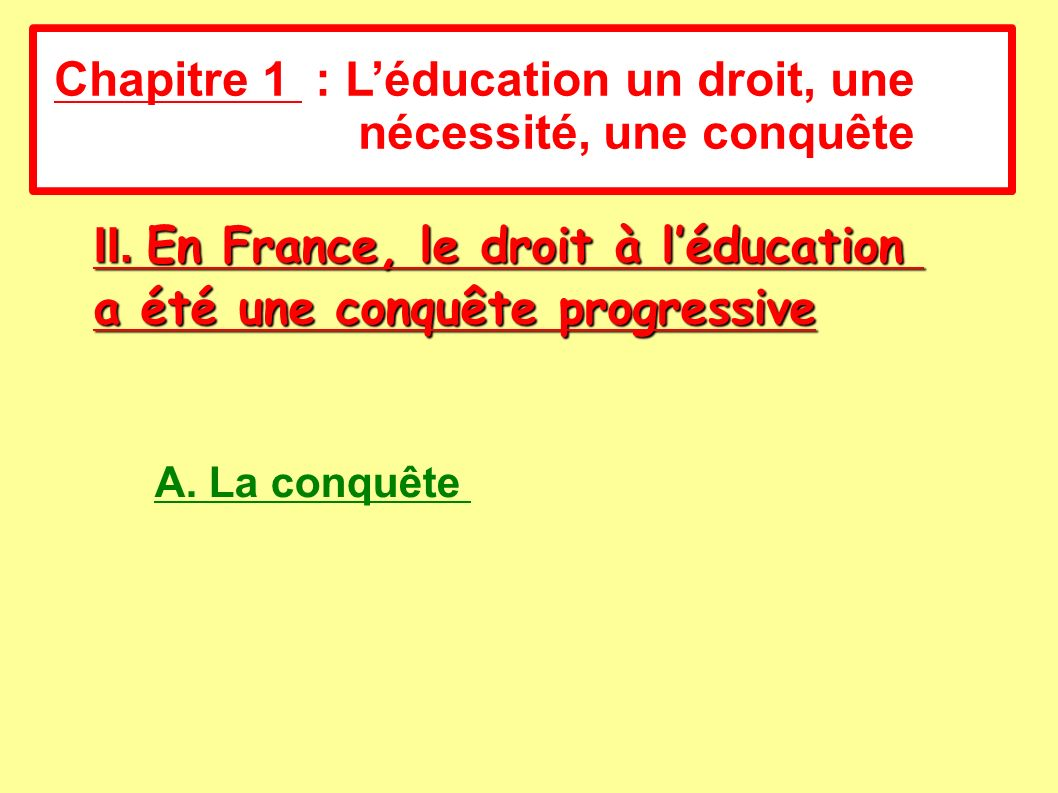 Chapitre 1 : L'éducation un droit, une nécessité, une conquête