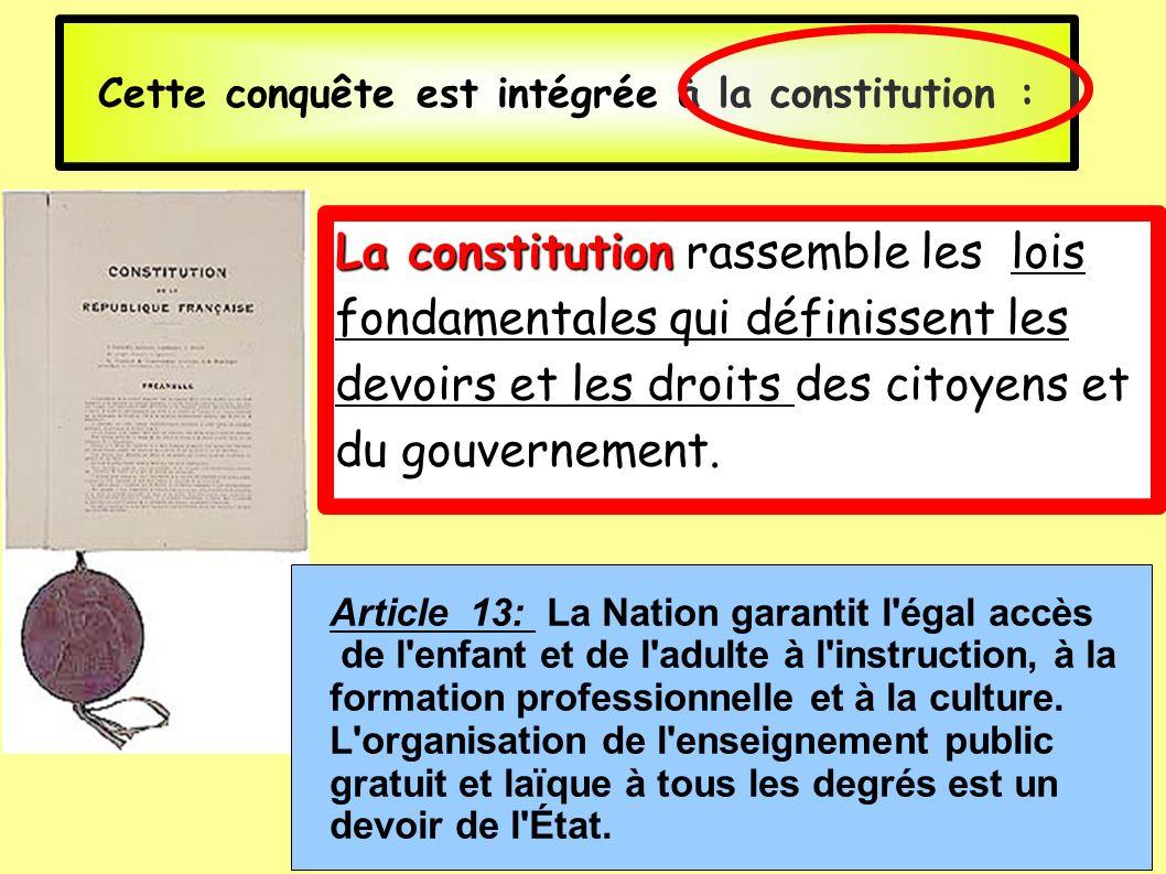 Cette conquête est intégrée à la constitution :