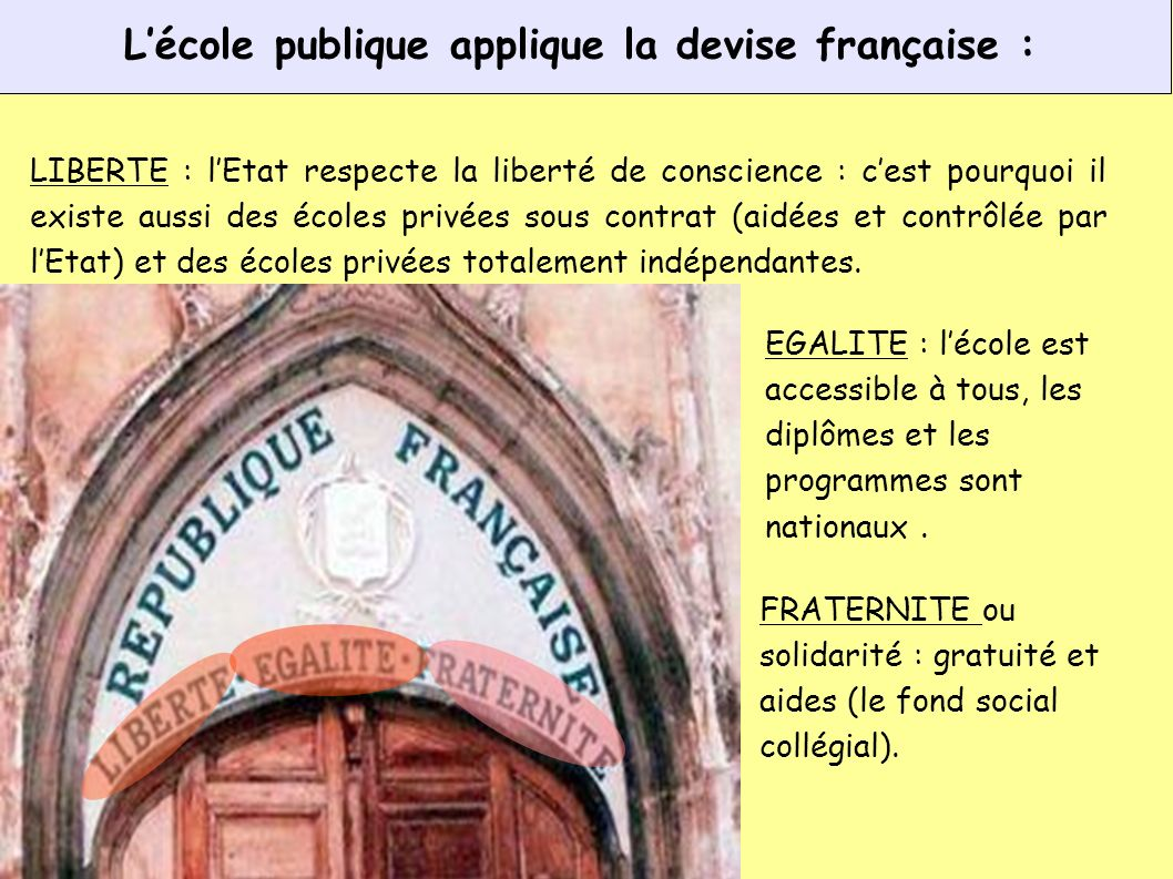 L'école publique applique la devise française :