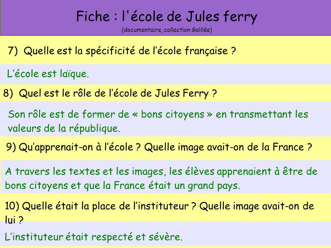 Fiche : l école de Jules ferry