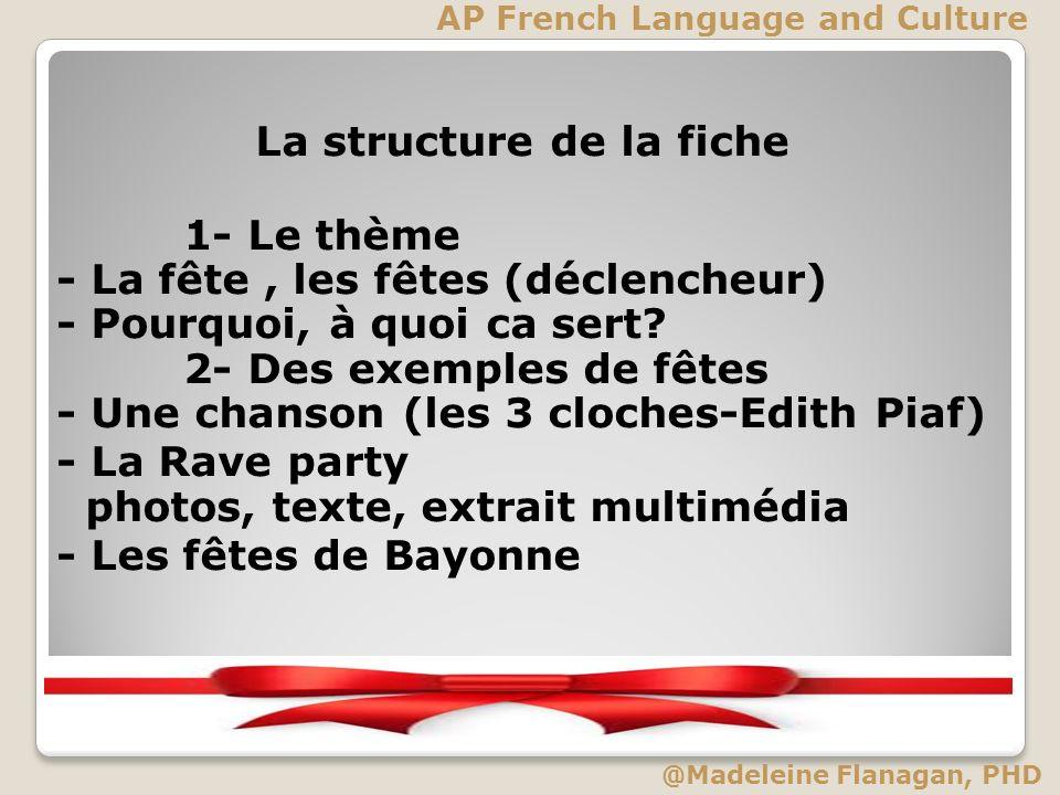 La structure de la fiche